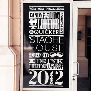 'Stache House Vinyl Door Design
